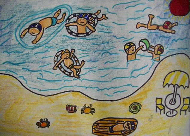 三年级美术作品欣赏 游泳真快乐